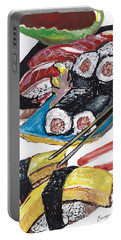 Portable Battery Charger featuring the painting Sushi Bar Painting by Ecinja Art Works