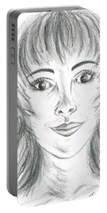 Portable Battery Charger featuring the drawing Portrait Stunning by Teresa White