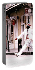Portable Battery Charger featuring the photograph New Orleans Suspended Animation Of A Mime by Michael Hoard