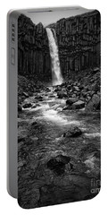 Svartifoss Waterfall In Black And White Portable Battery Charger