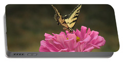 Swallowtail On A Zinnia Portable Battery Charger by Debby Pueschel