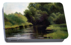 Portable Battery Charger featuring the painting Swan Creek by Janet King