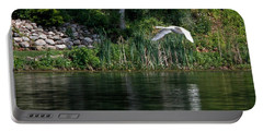Swan In Flight Portable Battery Charger by Eleanor Abramson