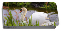 Swan In Water In Autumn Portable Battery Charger