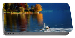 Beautiful Autumn Swan At Lake Schiliersee Germany  Portable Battery Charger