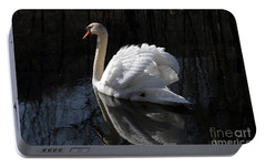 Portable Battery Charger featuring the photograph Swan With Reflection  by Eleanor Abramson