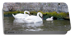 Swans And Cygnets In Brugge Canal Belgium Portable Battery Charger