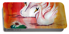 Swans In Love Portable Battery Charger by Lil Taylor