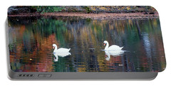 Portable Battery Charger featuring the photograph Swans by Karen Silvestri