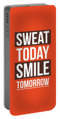Sweat Today Smile Tomorrow Gym Motivational Quotes Poster Portable Battery Charger