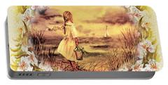 Sweet Memories A Trip To The Shore Portable Battery Charger by Irina Sztukowski