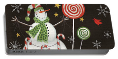 Sweet Snowmen I Black Portable Battery Charger by Anne Tavoletti
