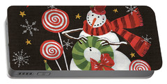 Sweet Snowmen IIi Black Portable Battery Charger by Anne Tavoletti
