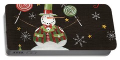 Sweet Snowmen Iv Black Portable Battery Charger by Anne Tavoletti