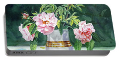 Portable Battery Charger featuring the painting Sweet Tea Roses Bouquet by Irina Sztukowski