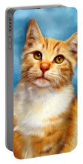 Sweet William Orange Tabby Cat Painting Portable Battery Charger