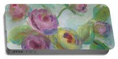 Portable Battery Charger featuring the painting Sweetness Floral Painting by Mary Wolf