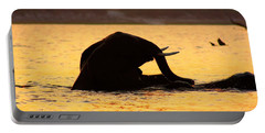 Portable Battery Charger featuring the photograph Swimming Kalahari Elephants by Amanda Stadther