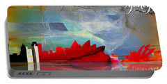 Sydney Australia Skyline Watercolor Portable Battery Charger by Marvin Blaine