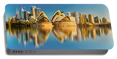 Sydney Skyline With Reflection Portable Battery Charger by Algirdas Lukas