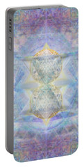 Synthecentered Doublestar Chalice In Blueaurayed Multivortexes On Tapestry Lg Portable Battery Charger