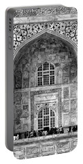 Taj Mahal Close Up In Black And White Portable Battery Charger by Amanda Stadther