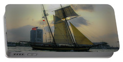Tall Ship In Charleston Portable Battery Charger by Dale Powell