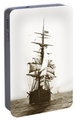 Portable Battery Charger featuring the photograph Tall Ship Sailing Out Of San Francisco California Circa 1900 by California Views Mr Pat Hathaway Archives