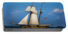 Portable Battery Charger featuring the digital art Tall Ships Over Charleston by Dale Powell