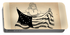 Portable Battery Charger featuring the drawing Tammy And The Flag by Reynold Jay