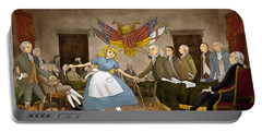 Portable Battery Charger featuring the painting Tammy In Independence Hall by Reynold Jay