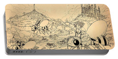 Portable Battery Charger featuring the drawing Flight Over Capira by Reynold Jay