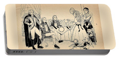 Portable Battery Charger featuring the drawing Tammy Meets Betsy Ross by Reynold Jay