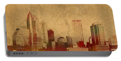 Tampa Florida City Skyline Watercolor On Worn Distressed Canvas Portable Battery Charger