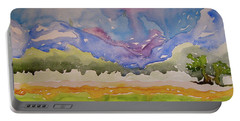 Portable Battery Charger featuring the painting Taos Fields by Beverley Harper Tinsley