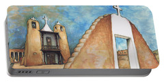 Taos Pueblo New Mexico - Watercolor Art Painting Portable Battery Charger