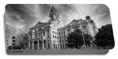 Tarrant County Courthouse Bw Portable Battery Charger