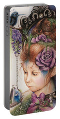 Tea And Periwinkle Portable Battery Charger by Sheena Pike