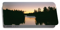 Tea Lake Sunset Portable Battery Charger by David Porteus