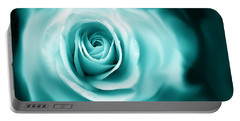 Teal Rose Flower Abstract Portable Battery Charger