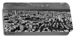 Tel Aviv Center Black And White Portable Battery Charger by Ron Shoshani