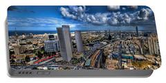 Tel Aviv Center Skyline Portable Battery Charger by Ron Shoshani