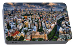 Tel Aviv Lookout Portable Battery Charger by Ron Shoshani