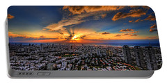 Tel Aviv Sunset Time Portable Battery Charger by Ron Shoshani