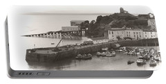 Tenby Harbour And Castle Hill Vignette Portable Battery Charger