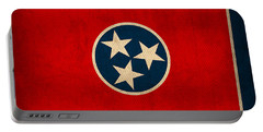 Tennessee State Flag Art On Worn Canvas Portable Battery Charger
