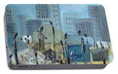 Portable Battery Charger featuring the painting Tent City Homeless by Judith Rhue