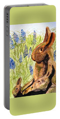 Terra Cotta Bunny Family Portable Battery Charger by Angela Davies