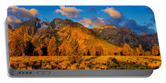 Portable Battery Charger featuring the photograph Teton Mountain View Panorama by Greg Norrell