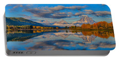 Portable Battery Charger featuring the photograph Teton Panoramic Reflections At Oxbow Bend by Greg Norrell